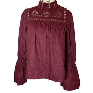 Free People Trumpet Sleeve Embroidered Blouse